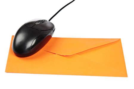 Isolated mouse on orange envelope Stock Photo - 9211849
