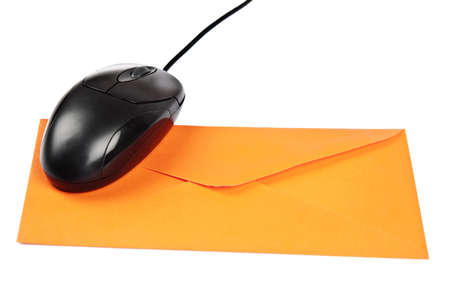 Isolated mouse on orange envelope Stock Photo - 9211849