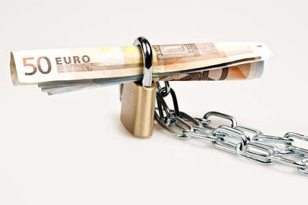 Euro banknotes locked on white Stock Photo - 9221191