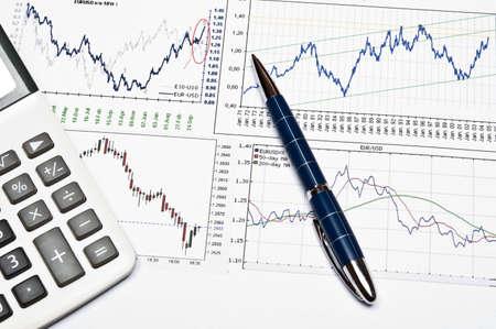 analyse: Euro and dollar exchange graph Stock Photo