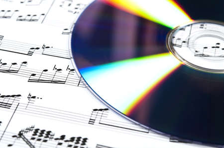 musical score: Cd and musical score closeup Stock Photo
