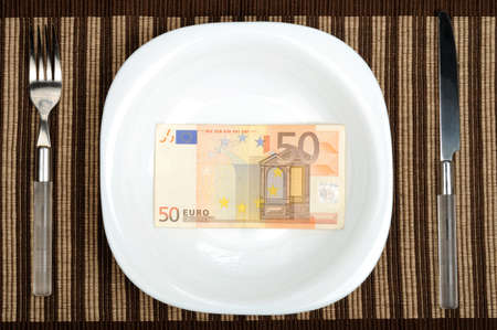 fifty euro banknote: Fifty euro banknote on plate  Stock Photo