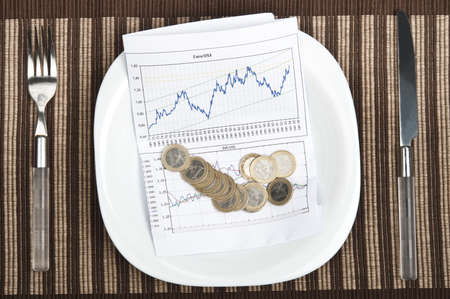 Graph on plate with fork and knife photo