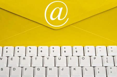 Envelope on an white keyboard photo
