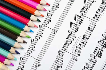 musical score: Pencils on an musical score
