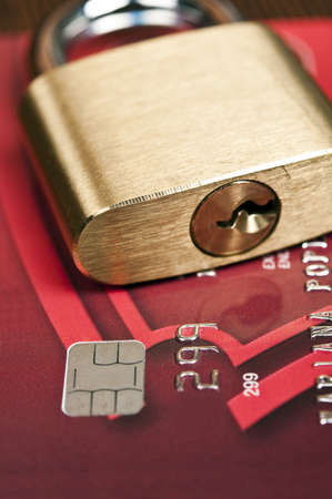 Close up to credit card and lock photo