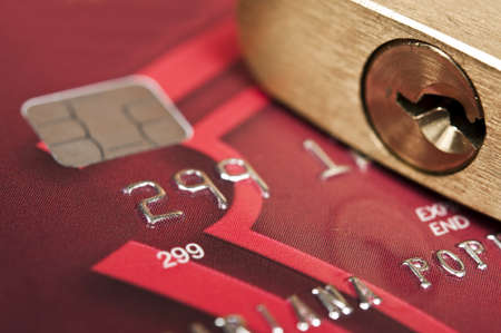 Close up to credit card and lock Stock Photo - 9344128
