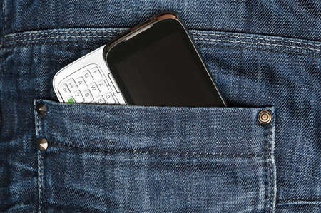pocket: Closeup to jeans pocket with phone