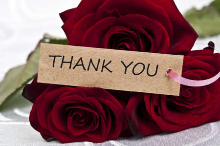 love you: Rose bouquet and thank you message