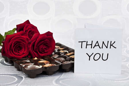 Rose and chocolate whit thank you note Stock Photo - 9343553