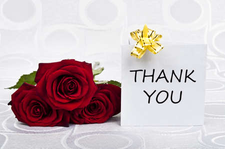 Rose bouquet and thank you message Stock Photo - 9343579