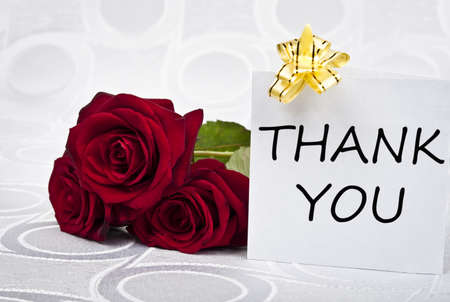 Rose bouquet and thank you message Stock Photo - 9343589