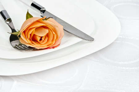 Rose and plate on white silk Stock Photo - 9294384