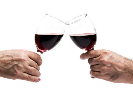 Red wine glasses splash close up photo