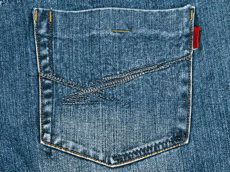 back pocket: Blue jeans texture close up Stock Photo