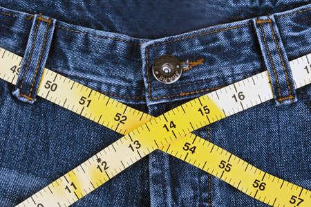 Blue denim jeans close up photo