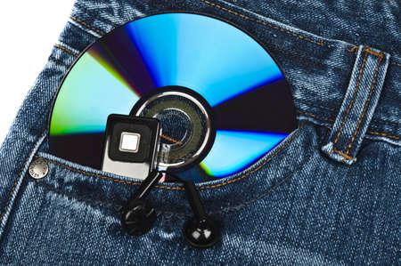 Cd in blue jeans pocket photo