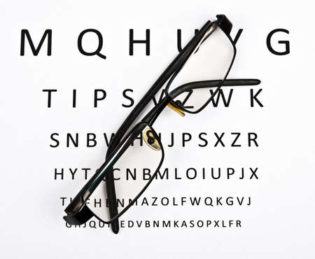 protecting spectacles: Eye glasses on examination paper