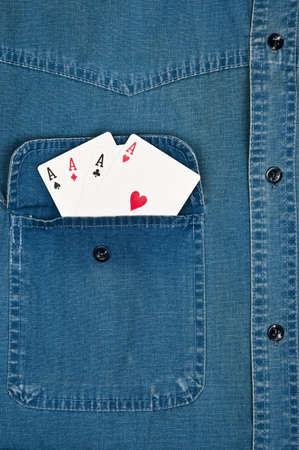 Jeans shirt pocket with Aces photo