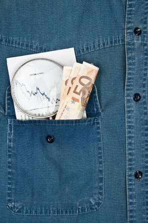 Jeans shirt pocket with exchange chart Stock Photo - 9346404