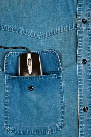 Jeans shirt pocket with pc mouse photo