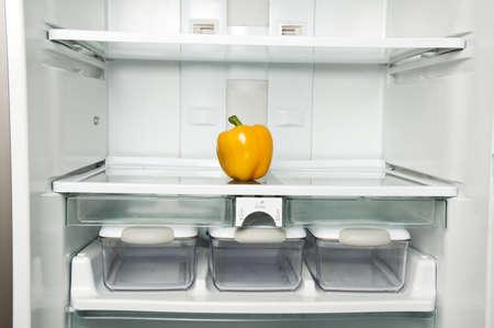 Refrigerator close up with yellow peper Stock Photo - 9346253