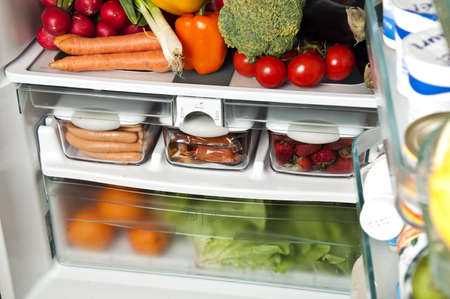 Refrigerator full of food close up Stock Photo - 9346350