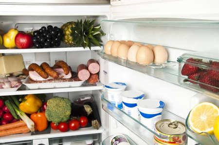 Refrigerator full of food close up Stock Photo - 9346358