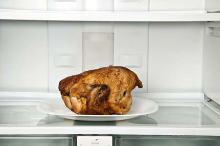 Refrigerator close up with roasted chicken Stock Photo - 9346238
