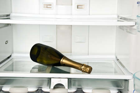 Refrigerator close up with champagne bottle photo