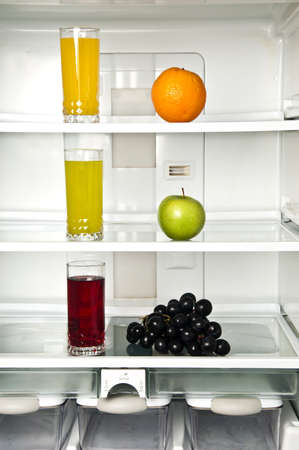Refrigerator close up with juice photo