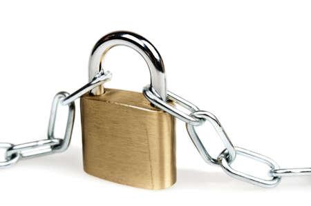 Padlock and chain on white photo