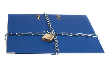 Padlock and chain on folder photo