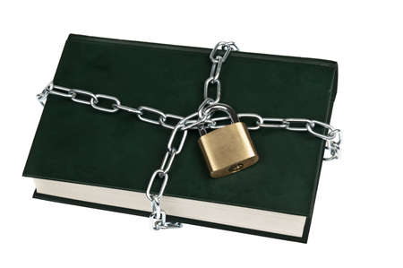 Padlock and book on white photo