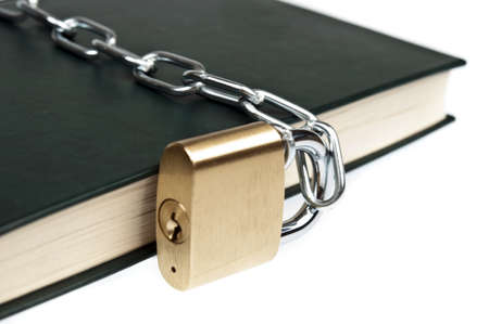 Padlock and book on white Stock Photo - 9346232