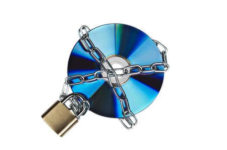 Padlock and cd on white Stock Photo - 9339746