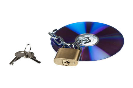 Padlock and cd on white photo