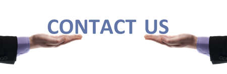Contact us message in male hands photo