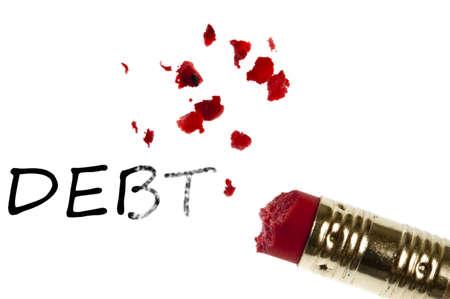 Debt word erased by pencil eraser photo
