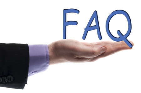 Faq word in male hand Stock Photo - 9627452