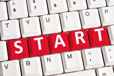 empezar: Inicie word sobre fondo blanco