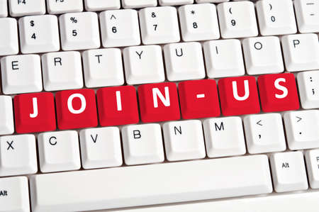 Join-us word on white keyboard photo