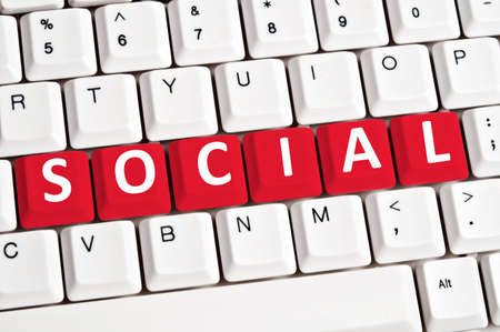 media equipment: Social word on white keyboard