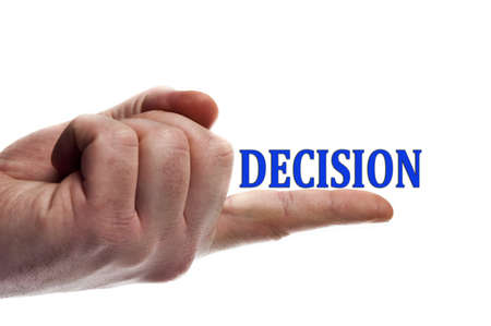Decision word on male finger photo