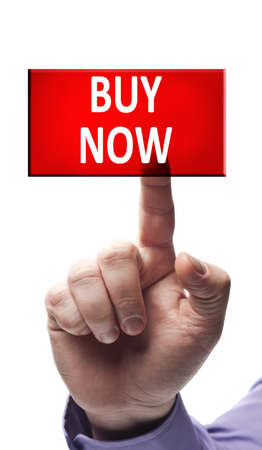 Buy now button pressed by male hand Stock Photo - 9627406