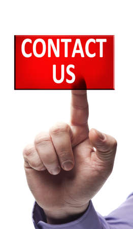 Contact us button pressed by male hand Stock Photo - 9627428