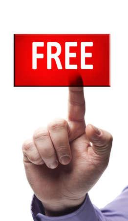 hands free: Libre bot�n presionado por mano masculina
