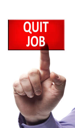Quit job button pressed by male hand photo