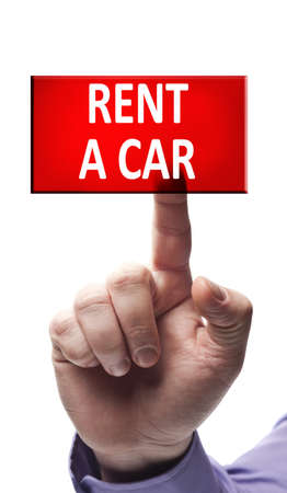 Rent a car button pressed by male hand Stock Photo - 9627420