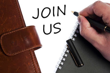 write us: Join us write by male hand Stock Photo